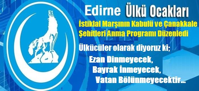 Edirne Ülkü Ocakları Şehitleri Anma Programı Düzenledi