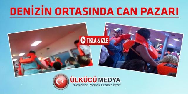 FIRTINA'YA YAKALANAN FERİBOT'UN CAMLARI PATLADI !