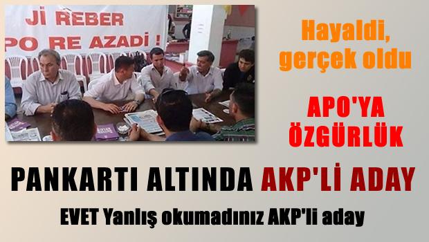 'Apo'ya Özgürlük' Pankartı Altında AKP Adayı