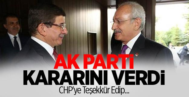 Ak Parti Kararını Verdi! CHP'ye Teşekkür Edip..