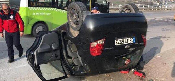 Otomobil Takla Attı, Hamile Eşini Sakinleştirdi