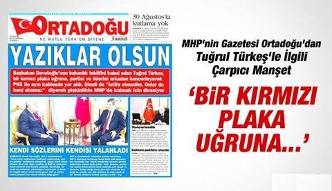 Ortadoğu'dan Tuğrul Türkeş'le İlgili ŞOK Manşet