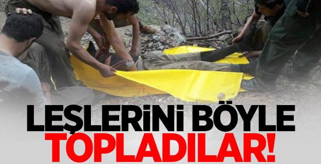 Teröristler cesetleri topladı