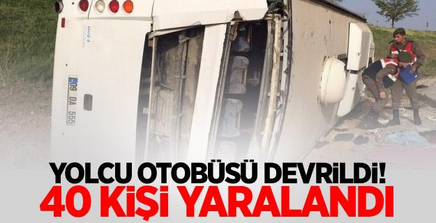 Yolcu otobüsü devrildi! 40 kişi yaralandı