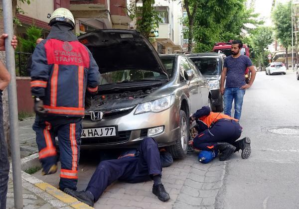 Otomobilin motoruna giren kediye kurtarma operasyonu