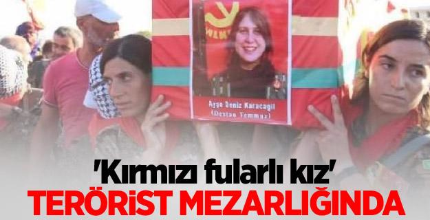 'Kırmızı fularlı kız' terörist mezarlığında!