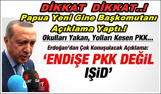 ERDOĞAN: ENDİŞE PKK DEĞİL, IŞİD