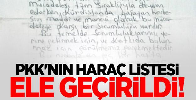 PKK'nın haraç listesi ele geçirildi!