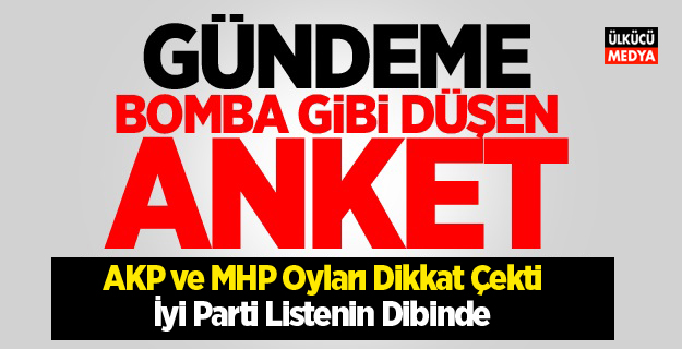 Son Anket Yayınlandı! AKP ve MHP Oyları Dikkat Çekti, İyi Parti Listenin Dibinde