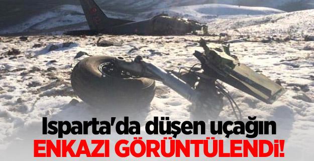 Isparta'da düşen uçağın enkazı görüntülendi!
