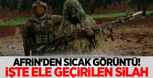 Afrin'den sıcak görüntü! İşte ele geçirilen silah