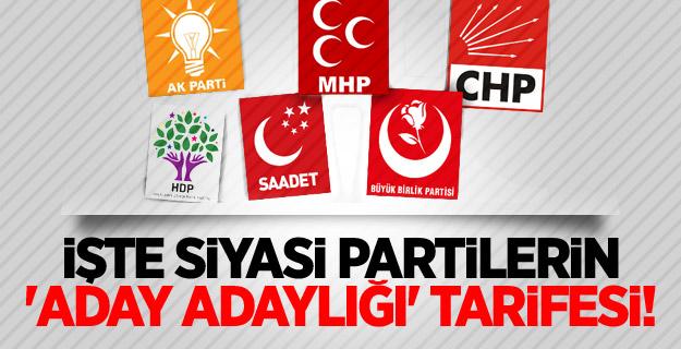 İşte siyasi partilerin 'aday adaylığı' tarifesi!
