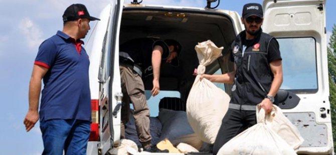 Polis çuval çuval getirdi ve imha etti!