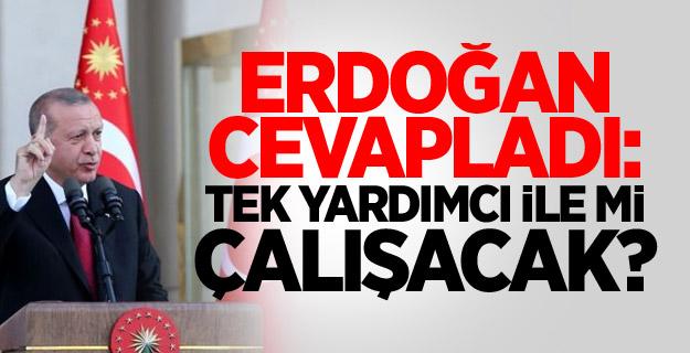 Erdoğan cevapladı: Tek yardımcı ile mi çalışacak?