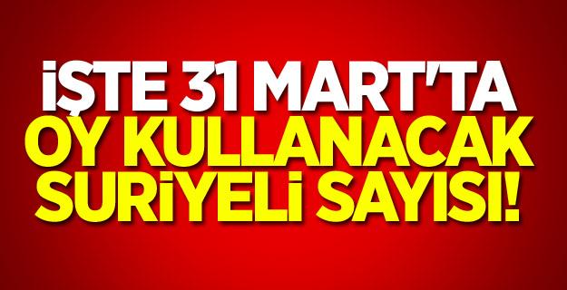 İşte 31 Mart'ta oy kullanacak Suriyeli sayısı...