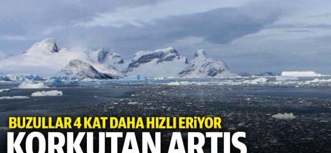 Buzulların erime hızı  dört kat arttı