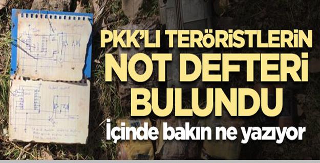 PKK'lıların not defteri bulundu