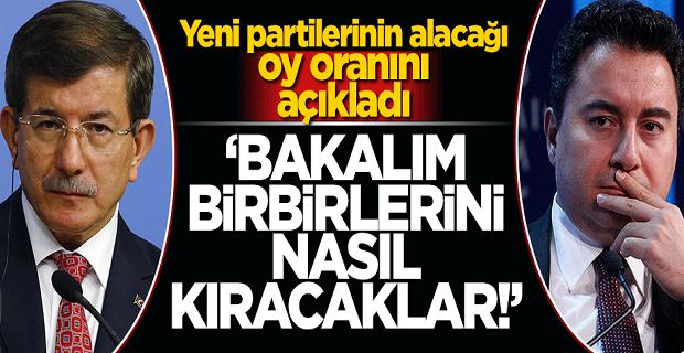 Ali Babacan ve Ahmet Davutoğlu'nun kuracağı yeni partilerin alacağı oy oranını açıkladı