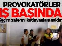 Provokatörler iş başında! Seçim zaferini kutlayanlara saldırdı
