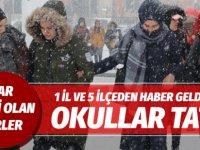 Kar yağışıyla birlikte 1 il 5 ilçede okullar tatil edildi