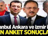İstanbul Ankara ve İzmir için son anket sonuçları