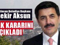 MHP'li Erzincan Belediye Başkanı Bekir Aksun: ilk kararını açıkladı