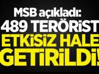 MSB açıkladı: 489 terörist etkisiz hale getirildi