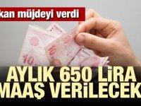 Bakan müjdeyi verdi! Aylık 650 lira maaş verilecek