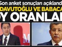 Son anket sonuçları açıklandı! işte Davutoğlu ve Babacan''ın oy oranı
