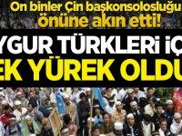 """On binler Çin başkonsolosluğu önüne akın etti! """"Uygur Türkleri için tek yürek olduk"""""""
