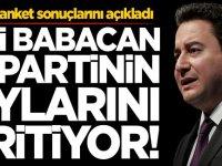 Son anket sonuçlarını açıkladı! Ali Babacan o partinin oylarını eritiyor