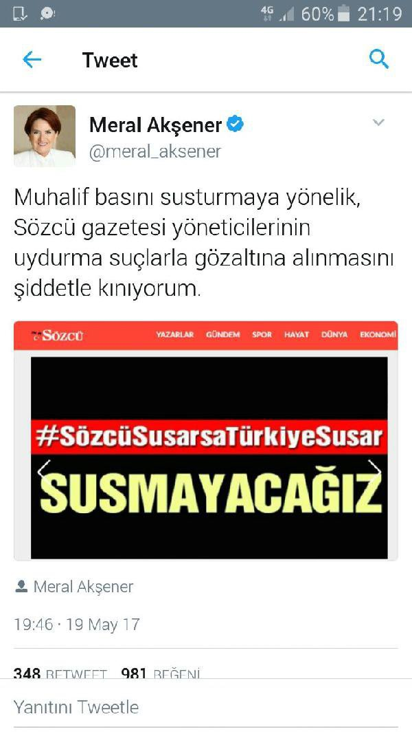 Meral Akşener Sözcü Gazetesi Açıklaması